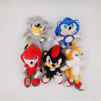 Blue Red Yellow Silver 23cm Classic Sonic the Hedgehog Plush Toys Knuckles Tails Soft Stuffed Animal Dolls