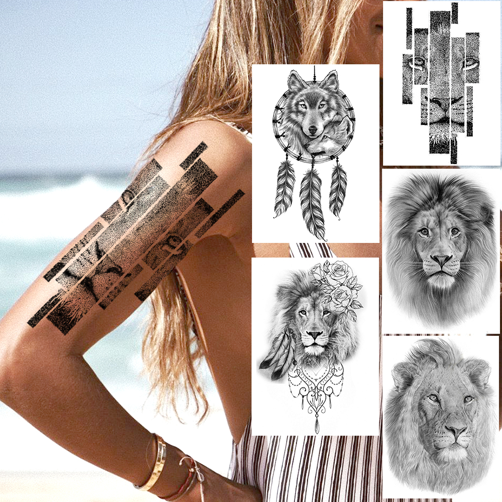Dot Pattern Lion Temporary Tattoos Sticker Fake Black Dreamcatcher Wolf Flower Tatoo Waterproof Body Art Arm Tatoo For Women Men