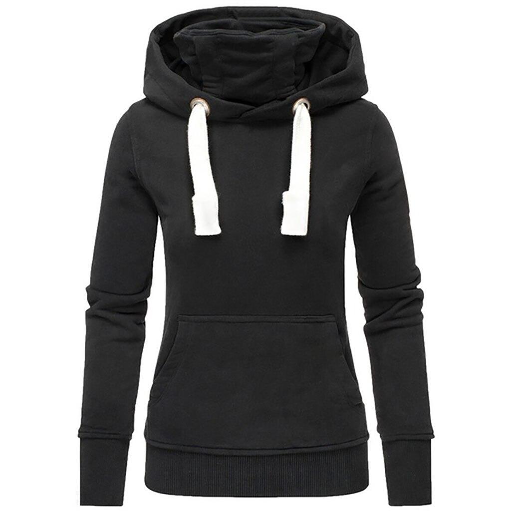 Women Solid Hooded Turtleneck Long Sleeve Sweatshirt Pullover Tops Shirts Ladies Plus Size Hoodies Winter Femme 2020#40