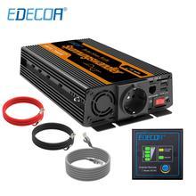 EDECOA تيار مستمر 12 فولت إلى التيار المتناوب 220 فولت 1000 واط الذروة 2000 واط نقية شرط موجة عاكس الطاقة مع جهاز التحكم عن بعد و USB 5 فولت 2.1A