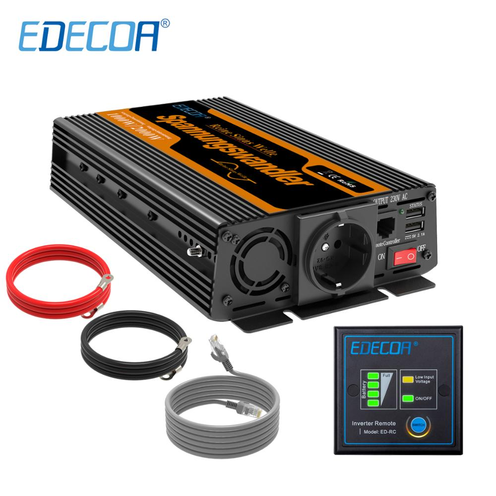 EDECOA DC 12V to AC 220V 1000w peak 2000w pure sine wave power inverter с пультом дистанционного управления и USB 5V 2.1A