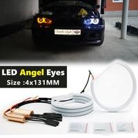 Anillos de Halo LED para coche, luz de algodón de doble color, blanco, amarillo, 4x13mm, para BMW E36, E38, E39, E46, M3, lámpara LED SMD de Ojos de Ángel