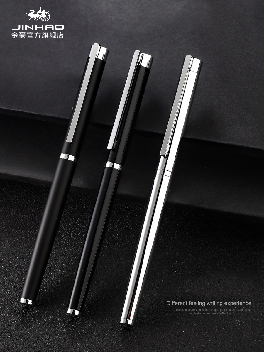 Jinhao-stylo à encre pour fontaine, 126mm, 0.38mm, stylo de calligraphie, en acier noir, haute qualité pour écriture en métal, fournitures scolaires pour étudiants