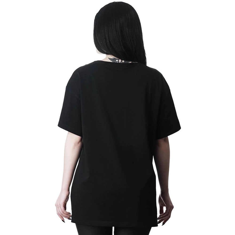 Rosetic Wanita Harajuku Dicat T Shirt Kebesaran Wanita Lengan Pendek Gothic Punk Hitam Kegelapan Top T Shirt Jepang Musim Panas Atasan