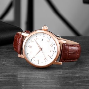 Image 5 - Men Arabic Watches Muslim Wrist Watch Automatic Self wind Movement Luxury Urdu Number AZAN Watches