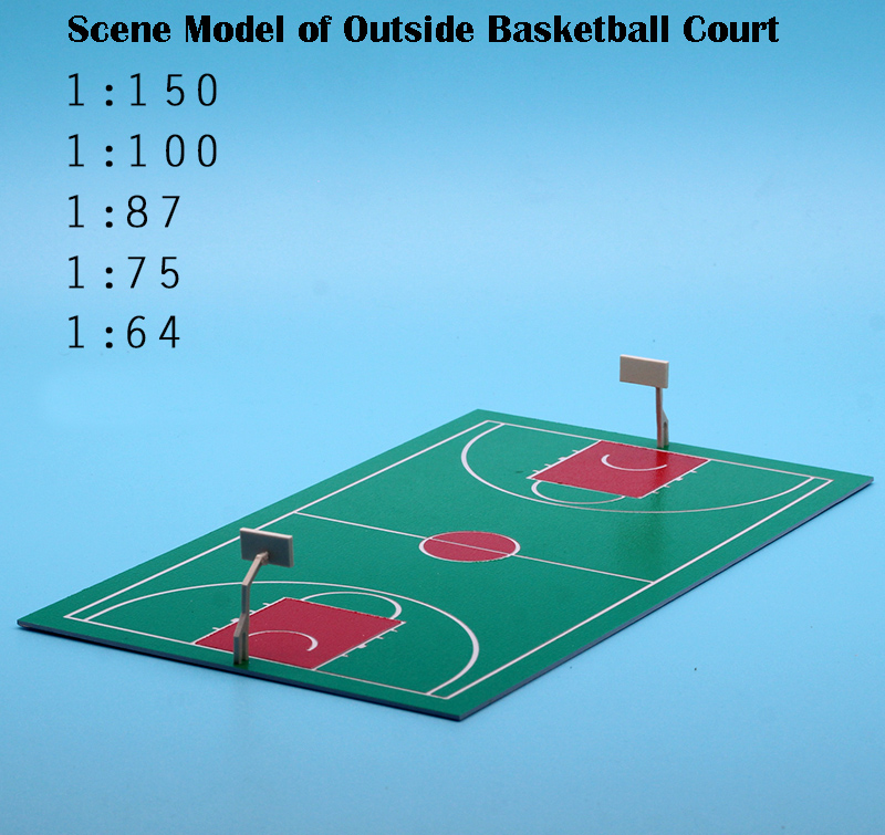 Scene Model Of Outside Basketball Court  Plastic Waterproof Sand Table  DIY Model Materials  Multiple Proportions  Miniature
