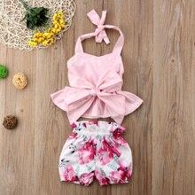 Newborn Infant Baby Girl Bow-knot Tops T-shirt Floral Shorts Pants 2Pcs Clothes