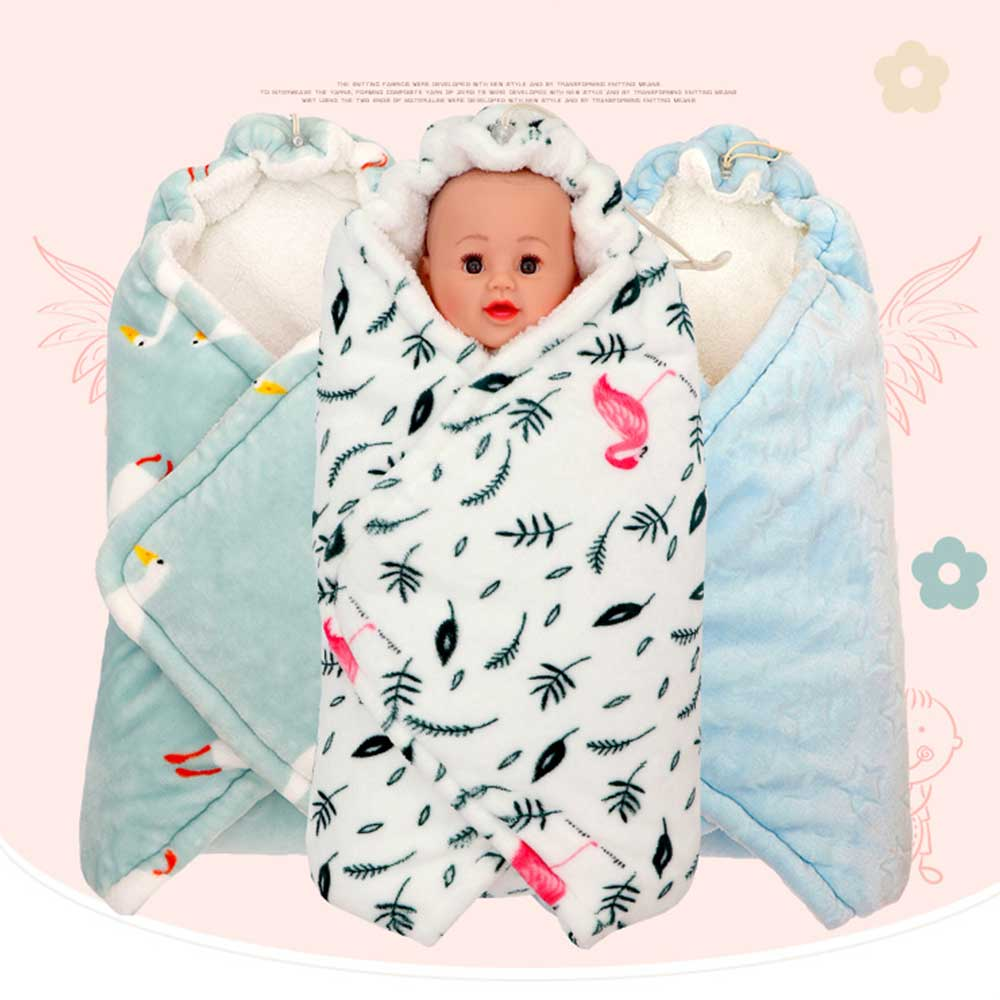 Newborn Baby Blanket Baby Discharge Sack Infant Anti-Startle Swaddle Wrap Newborn Sleeping Bag Baby Blanket Thick Autumn Winter