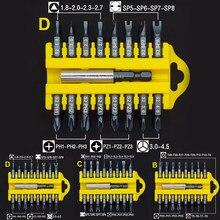 17pcs Set di cacciaviti punte Torx testa B / C / D Torx Hex Star Cross/PZ/tipo Y/tipo U/triangolo supporto magnetico cacciavite Toolkit