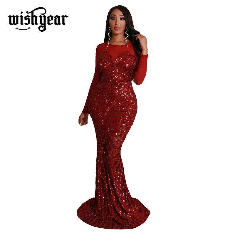 Noël pure maille Patchwork paillettes robe Maxi de haute qualité O cou à manches longues moulante robe de soirée femmes Vestidos