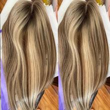 Perruque de cheveux naturels européens Remy, postiche lisse à reflets bruns et blonds, 6 à 20 pouces, 8x13cm, remplacement de toupet