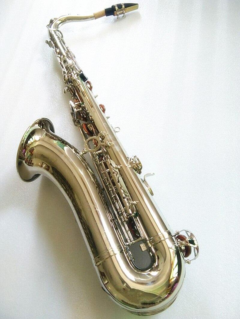 Haute qualité STS-R54 B plat ténor saxophone instrument de musique professionnel blanc nickel argent ténor saxophone performance