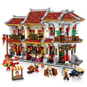 Мини DIY сборный блок игрушка уличный город большая китайская улица китайские Строительные кирпичи традиционный дом специальная модель игр...