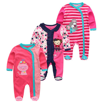 0-12Months Baby Rompers Newborn Girls&Boys 100%Cotton Clothes of Long Sheeve 1/2/3Piece Infant Clothing Pajamas Overalls Cheap - Baby Rompers RFL3705, 6M