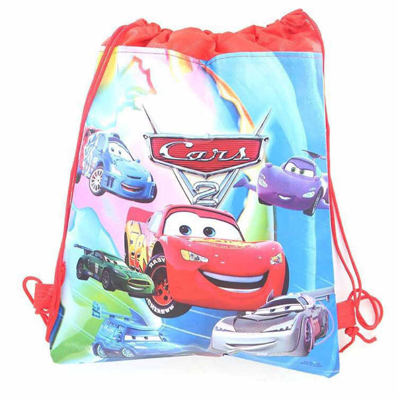 1 piezas Disney coche McQueen fiesta bolsas de regalos de compras bolsas de cordón niño favores tela no tejida mochila fiesta de cumpleaños suministros