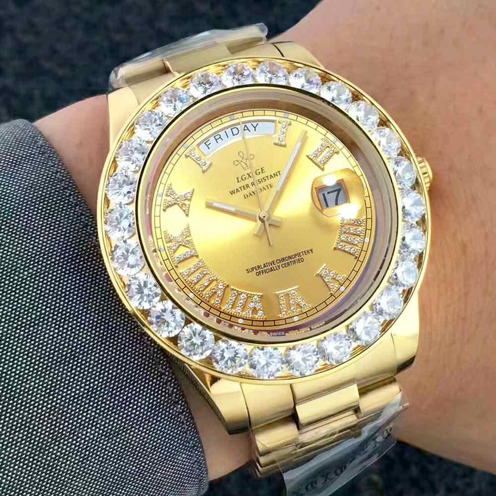 ビッグダイヤモンド高級ブランドゴールド腕時計メンズステンレス鋼デイデイト男性の腕時計社長トップための男性の時計レロジオ masculino