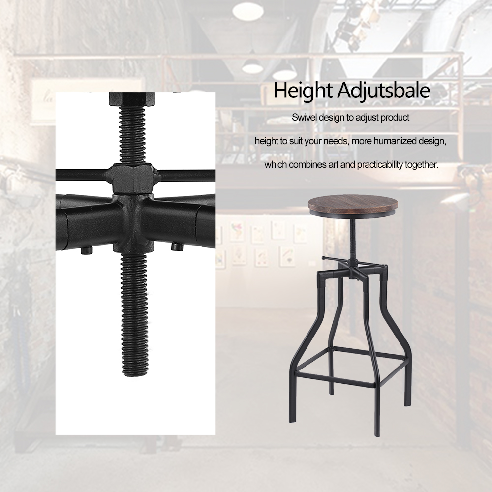 Ultimate SaleStool Chair-Bar Dining-Chair Pinewood-Top Adjustable Industrial-Style Kitchen Ikayaa