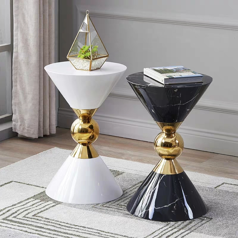 Marble Texture Luxury Side Table Sofa Corner Table Art Creative End Table Modern Living Room Small Coffee Table Round Table