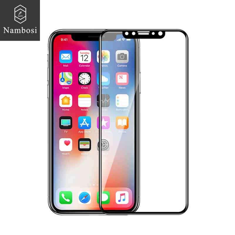Nambosi Tempered glass for iPhone X Xs Xr Xs Max 6 6s 7 8 screen protector for iPhone 6 6s plus 7 8 plus Full coverage iphone x