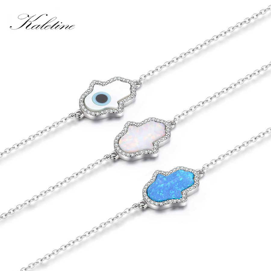 New Fashion Synthetic Opal Blue White Bracelets For Women Hamsa Hand of Fatima Genuine 925 Sterling Silver Bracelet KLTB006