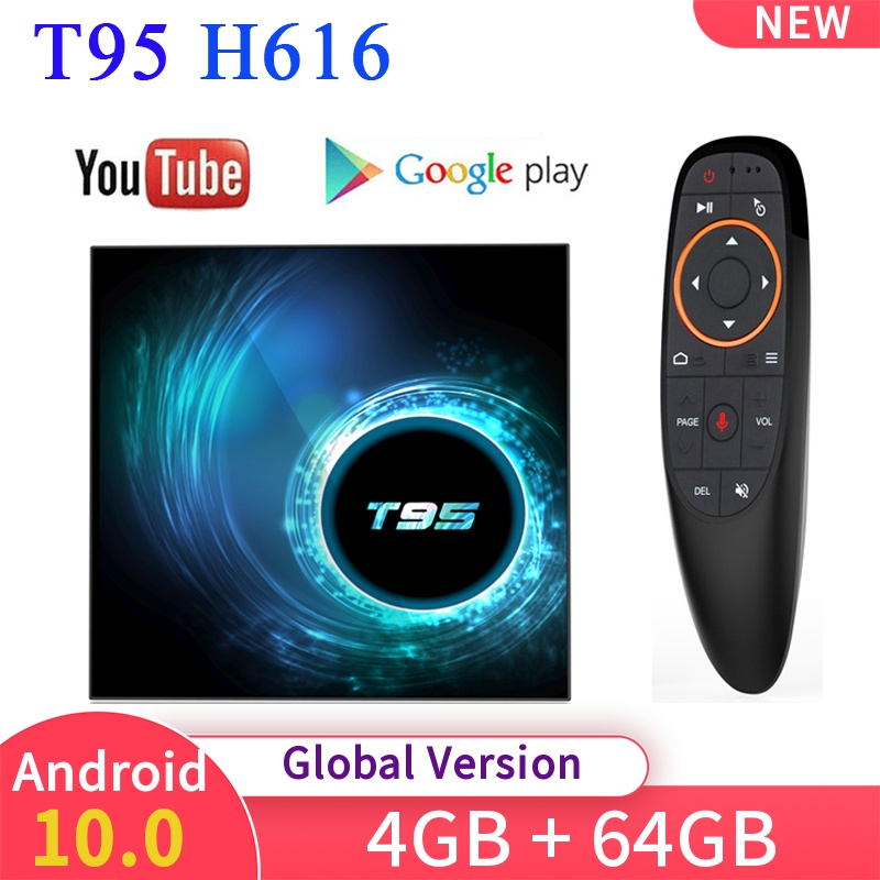T95 Smart TV Box Android 10.0 4GB 32GB 64GB Allwinner H616 Quad Core Wifi H.265 4k 6K YouTube Netflix Media player Set top box