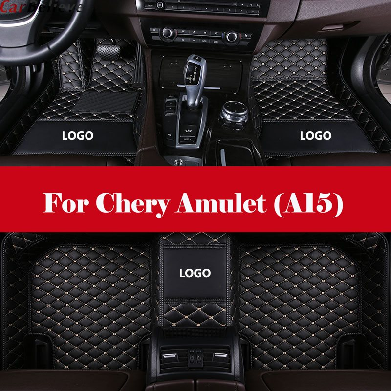 3D All-Weather Car Foot Mat Waterproof Leather Floor Mats Liner + Embroidery LOGO For <font><b>Chery</b></font> Amulet (<font><b>A15</b></font>) image