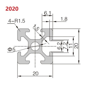 Image 5 - 2020 Aluminum Profile 6mm T Slot 2020 Aluminium Extrusion Anodized 100 200 300 400 500 600 800 1000mm CNC 3D Printer Parts 1m
