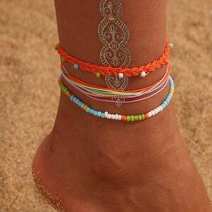 Набор винтажных браслетов из ракушек и лодыжек для женщин, богемные браслеты на ногу из веревки и цепочек с блестками, летние пляжные браслеты для девочек, цепочка для бохо, ювелирные изделия