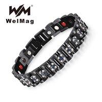 WelMag 2019 Fashion Black Stainless Steel Magnetic Bio Energy Elegant Flower Crystal Charm Bracelet for Women Healing Jewelry