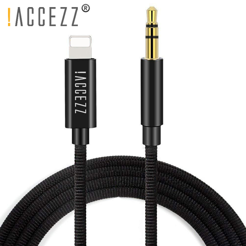 !ACCEZZ Car Audio Cable For Iphone 7 8 6 X XS MAX XR Plus Connector 3.5mm Jack Headphone Adapter DVD Player AUX Splitter Cord 1M