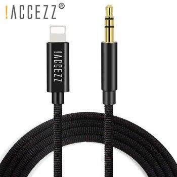 ¡! ACCEZZ de coche de Cable de Audio para iphone 7 8 6 X XS X MAX XR Plus conector Jack de 3,5mm adaptador de auriculares reproductor de DVD divisor auxiliar Cable 1M