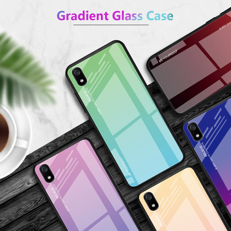 100PCS/Lot 9H Glass Case For Xiaomi Redmi 7 7A Go K20 Note7 6 6A Phone Gradient Color Back Cover-in Half-wrapped Cases from Cellphones & Telecommunications    1