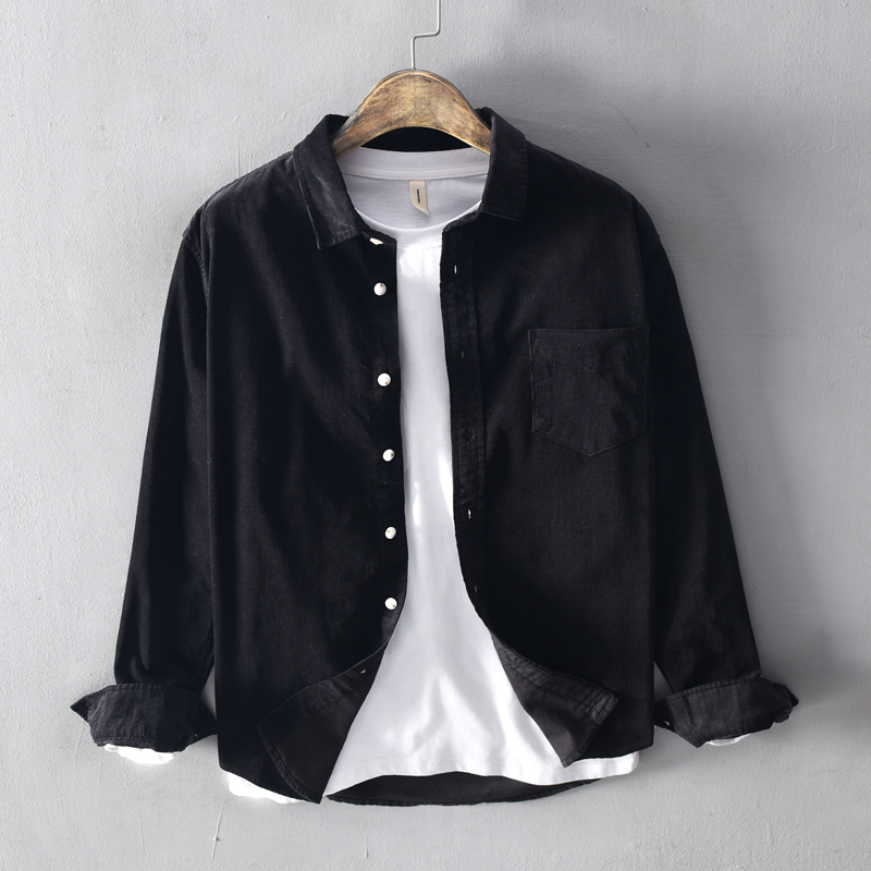 Autumn Fashion Men Shirts Long Sleeve Lapel Casual Corduroy Shirts Men Japanese Vintage Designer Leisure Cotton Shirts Hombre