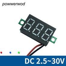 Voltímetro dc de duas linhas, voltímetro de alta precisão dc2.5-30v com tela digital de 0.36 polegadas cor opcional