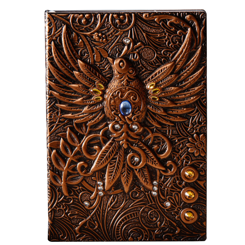 Journal PU Cover School Retro Notebook Handcraft Travel Hardcover Writing Pads Embossed Diary Phoenix Gift Home