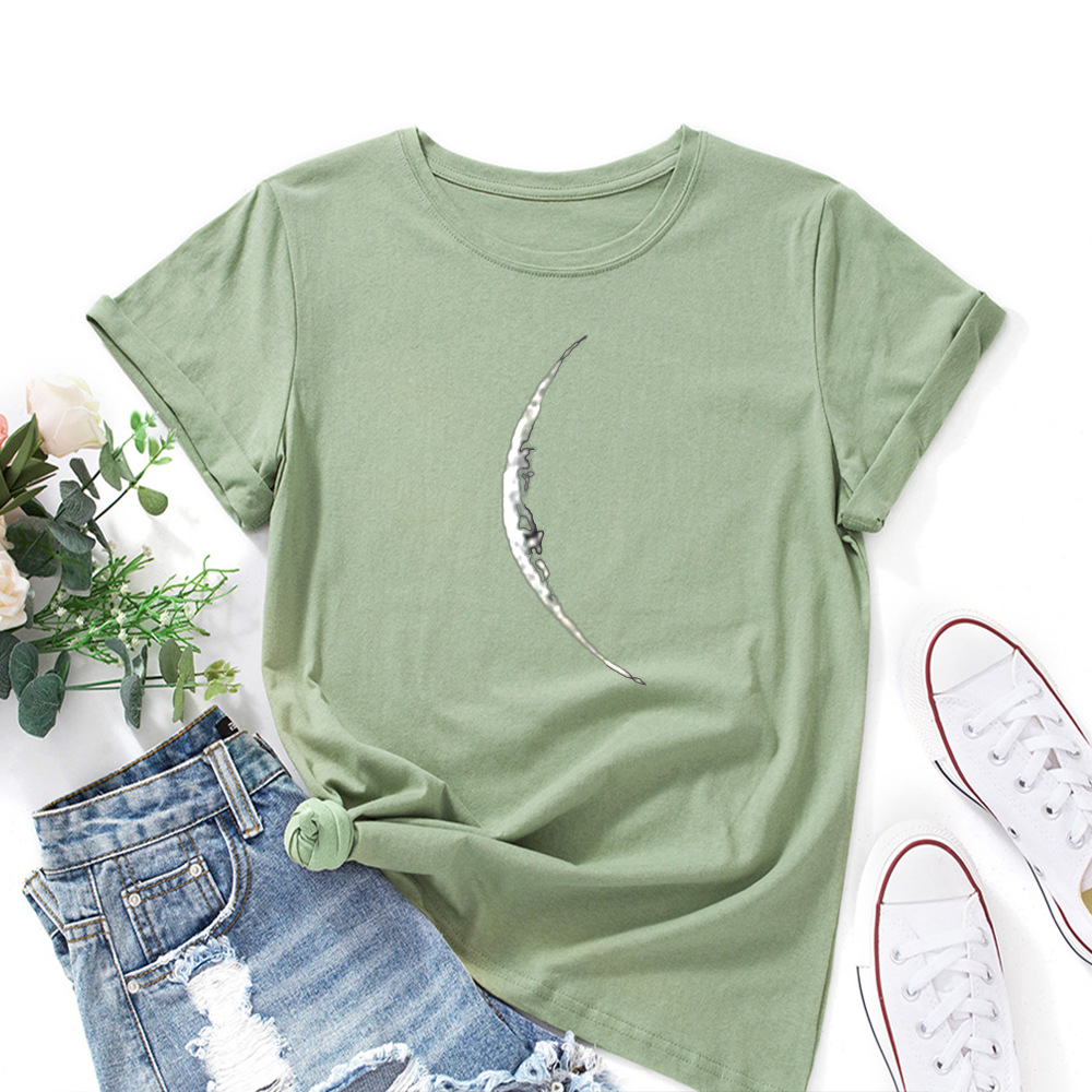 Crescent Moon Eclipse Graphic Tee Top Summer Women Short Sleeve Crewneck Cotton T-Shirts Tops Female Oversized Shirt Clothes