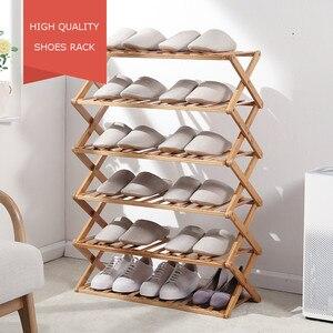 Multi-layer Shoe Rack Foldable Shoes Storage Rack Shoe Shelf Organizer Holder Hallway Dormitory Doorway Bamboo Shoe Cabinet