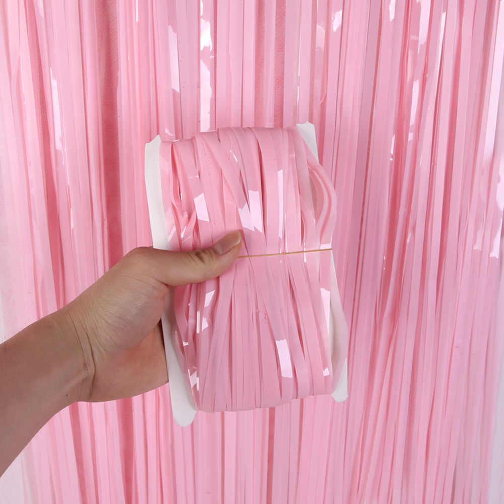 2 メートルの結婚式フリンジ箔カーテン背景カーテンフォトブースパーティーの見掛け倒しカーテン誕生日パーティー大人記念用品