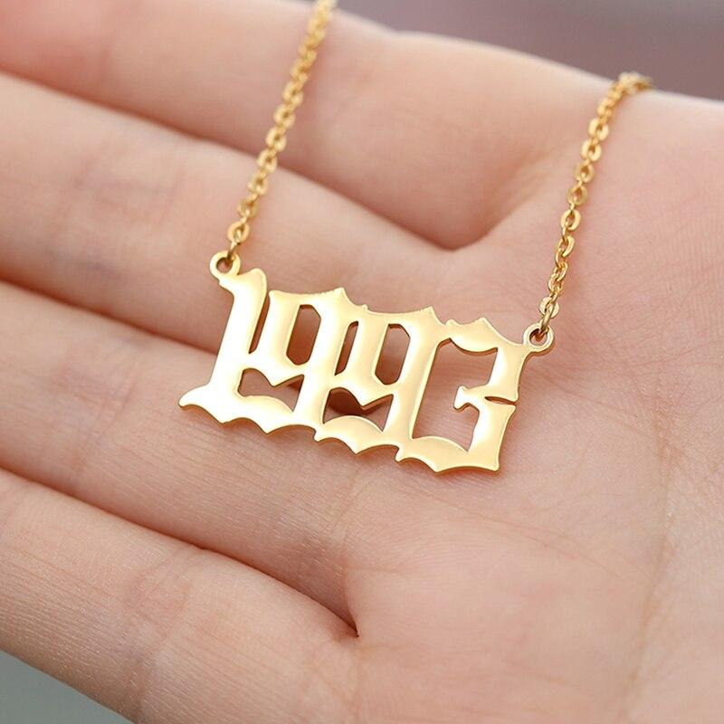 Acier inoxydable année numéro personnalisé colliers pendentifs pour femmes hommes or argent longue chaîne mâle femme collier bijoux de mode