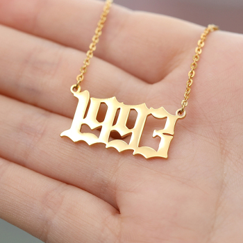 Stainless Steel Year Number Custom Necklaces Pendants For Women Men Gold Silver Long Chain Male Female Necklace Fashion Jewelry Apparels Fashion Jewellery Necklaces Women