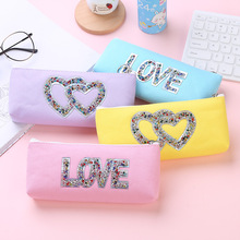 New creative sequin canvas laser pen bag zipper student stationery colorful