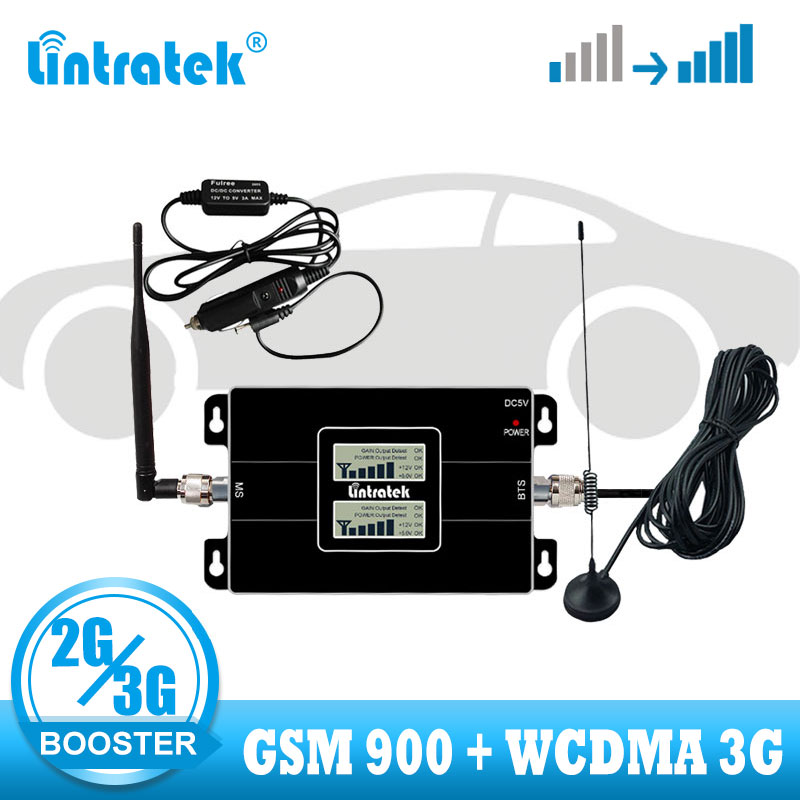 Lintratek Set Car Use Repetidor Dual Band WCDMA 2100 GSM 900  2G 3G Signal Booster Cellphone Cellular Signal Repeater Amplifier