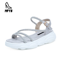 MFYB Women's sandals 19 summer new sports wind comfortable flat panda bottom women's shoes buckle with rhinestone casual sandals
