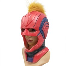 Captain Marvel Latex Mask Cosplay Captain Marvel Carol Helmet With Wing Surpurhero Masks Halloween Party Props Dropship Women(China)