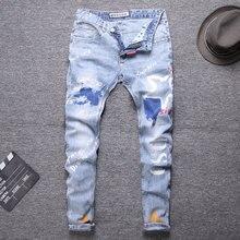 2020 Printing Blue Color Streetwear Biker Jeans Fashion Men Slim Fit Spliced Designer Ripped Straight jeans