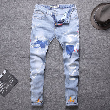 цена 2020 Printing Blue Color Streetwear Biker Jeans Fashion Men Jeans Slim Fit Spliced Designer Ripped Jeans Men Straight jeans онлайн в 2017 году