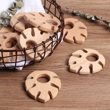 20pc DIY wooden personalized pendant organic beech banana leaf natural hand made baby woodenteether for baby teeth care