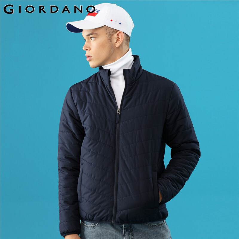 Giordano Men Coat Solid Stand Collar Quilted Casacas Para Hombre Medium Tickness Inner Pocket Jaqueta Masculina 01079725