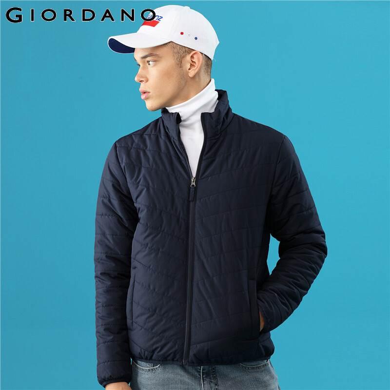 Giordano Men Coat Solid Stand Collar Quilted Casacas Para Hombre Medium Tickness Inner Pocket Jaqueta Masculina 01079725