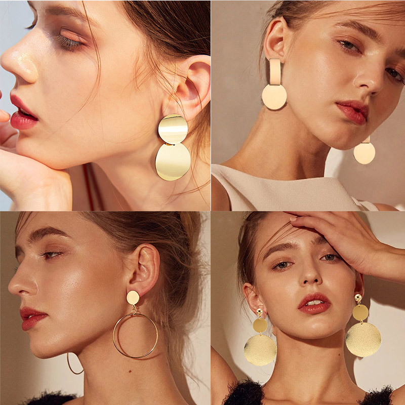 Women fashion earrings 2019 Gold Metal Drop Dangle Earrings Vintage Statement Round Geometric Earring Fashion Jewelry